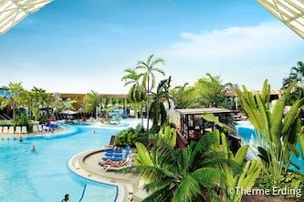 Therme Erding Erlebnisbad in der Nähe von München mit Palmen und Südseeambiente und viel Platz zum schwmmen, mit Liegemöglichkeiten am Wasser oder bei den Whirlpool-Düsen - auf dem Bild ist scheinbar noch wenig los in der Therme - so kann man am besten entspannen